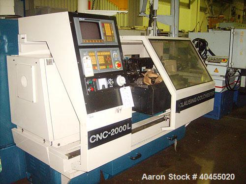 "Used- Clausing Colchester 15'' x 50'' 2-Axis CNC Lathe, model 2000L. Capacity: swing over bed 15.7"", swing over cross slide ..."