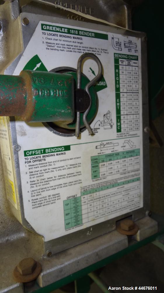 "Used- Greenlee Mechanical Pipe Bender, Model 1818.  EMT capacity 3/4"" - 2"", rigid capacity 1/2"" - 1-1/2"", IMC capacity 1/2"" ..."