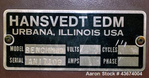 "Used- Hansvedt Ram Type EDM, Model Benchman. Work table size 9.4"" x 14.2"", table travel 5.5"" x 8.5"", work tank size 16"" x 24..."