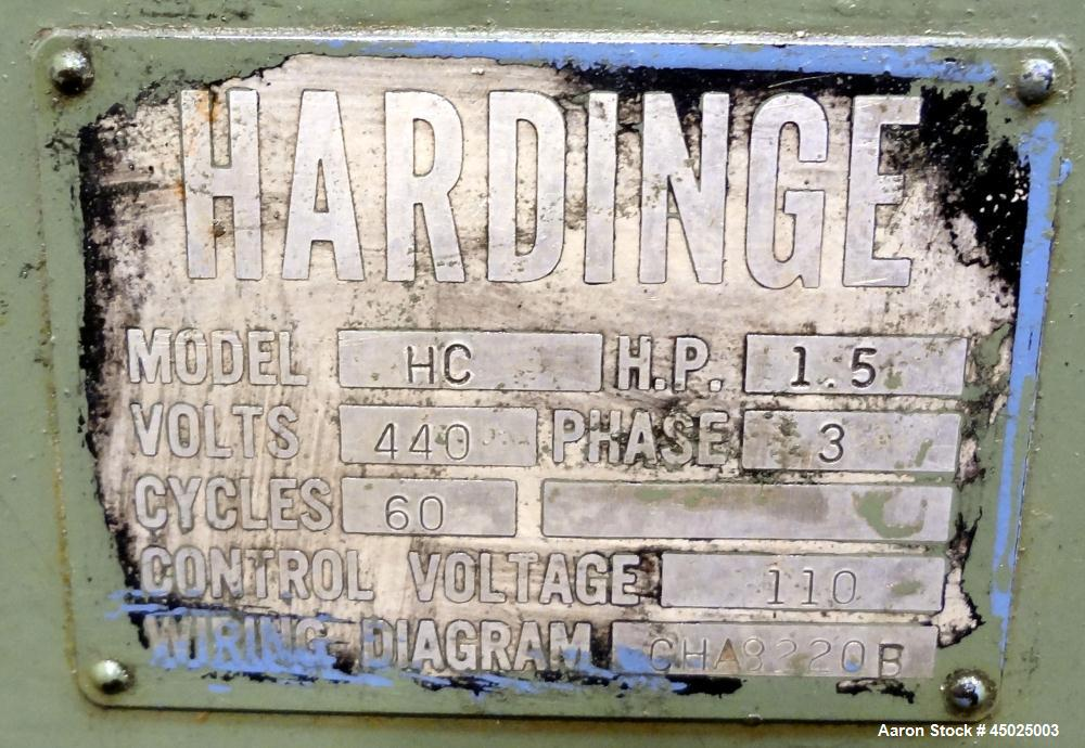 """Used- Hardinge HC Lathe. Approximate spindle capacity jaw chucks 5"""" max. Distance, face of turret to spindle, 13"""". Spindle s..."""