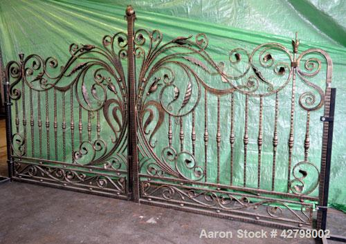 "Used- Wrought Iron Gates. Consisting Of: (2) Gates, each approximate 80"" wide x 91"" tall."