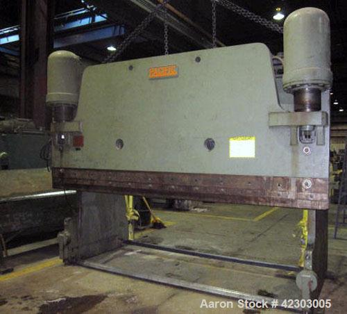 "Used- Pacific Hydraulic Brake, Model 300-12. Bending capacities 12' x 5/16"" mild steel, 10' x 3/8"" mild steel. Tonnage capac..."