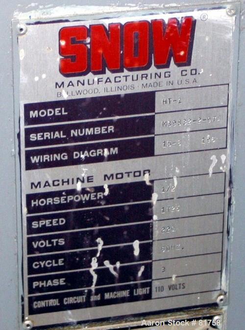 USED: Snow Mfg Co horizontal machine, model HT-1. Single/horizontal spindle tapping machine with vibratory bowl feed hopper ...