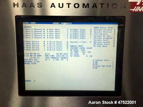 """Used- 2005 Haas VF-3 Vertical Machining Center. Specifications: Control: Haas, Table size 48"""" x 18"""", max table load 3,500 lb..."""
