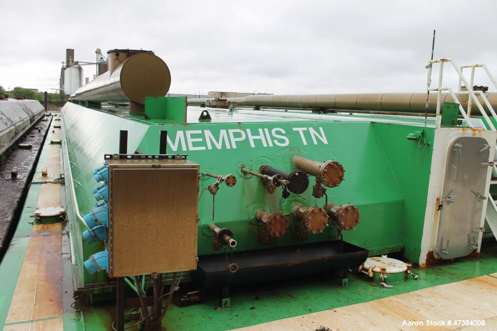 Used- Independent Tank Barge, DOUBLE HULL, Approximate 200' x 35' x 12'. Consisting of: (6) Mueller Tanks, 45,000 Gallon, Mo...