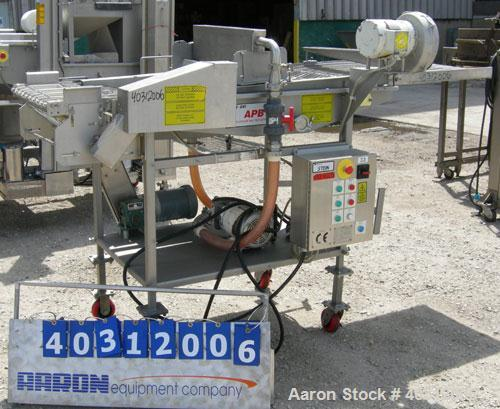 "Used- Stein all purpose batter applicator, model APB-24, 304 stainless steel. 24"" wide x 96"" long wire mesh belt, driven by ..."