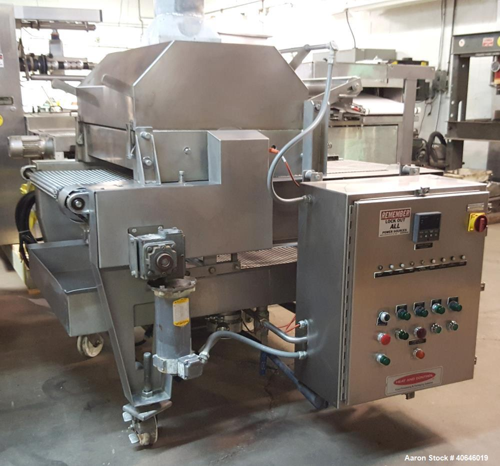 """Used- Heat & Control Rotary Brander. Continuously brand grill marks to the top of products. 20"""" wide stainless steel mesh co..."""