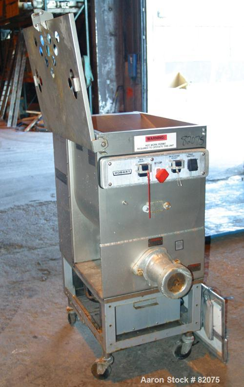 "USED: Hobart meat grinder, model 4246S. 304 stainless steel. 140 pound hopper 18"" wide x 18"" long x approx 20"" deep. Tin mix..."