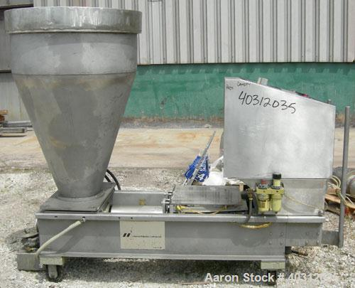 Used- Marlen Research Dual Piston Meat Pump, Model V629, 304 Stainless Steel. Coned infeed hopper. Includes a control panel,...