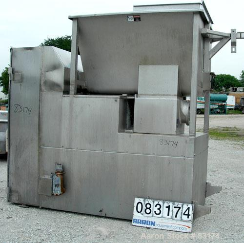 """Used- Weiler Agitated Self-Feeding Grinder, Model 1109. 304 Stainless Steel. Approximately 50 cubic foot tub with a 16"""" diam..."""
