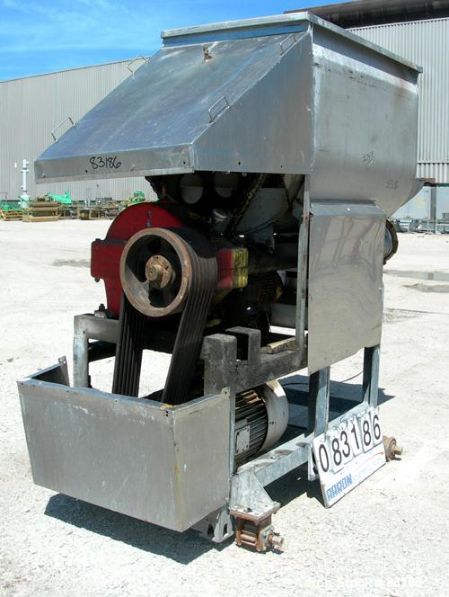 "Used- Weiler Agitated Self-Feeding Grinder, Model A1167, 304 Stainless Steel. Approximately 40 cubic foot tub with a 5-1/2"" ..."
