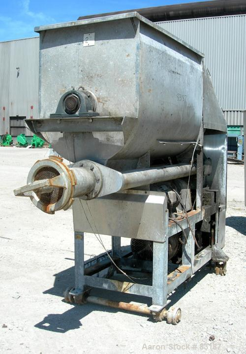 "USED: Weiler Agitated Self-Feeding Grinder, Model A1167. 304 stainless steel. Approximately 40 cubic foot tub with a 5-1/2"" ..."