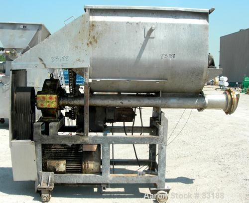 """USED: Weiler Agitated Self-Feeding Grinder, model A1167. 304 stainless steel. Approximately 40 cubic foot tub with a 5-1/2"""" ..."""