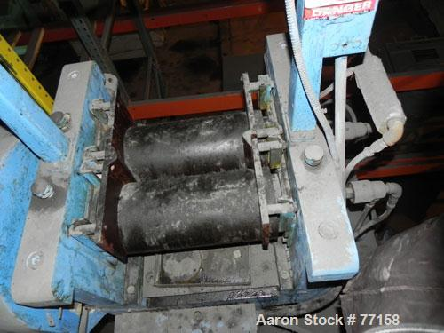 "Used- Horizontal Two Roll Mill. 8"" Diameter x 18"" long chrome plated cored rolls. Adjustable end guides, approximate distanc..."