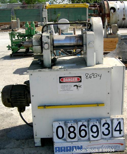 """USED: Horizontal Two Roll Mill. (2) 6"""" diameter x 13"""" wide chrome plated cored rolls. (2) Knee safeties, (1) knife scraper. ..."""