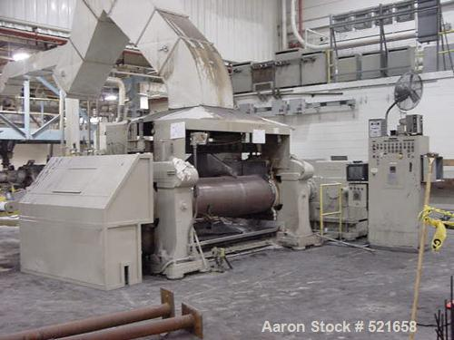 """USED: 84"""" wide Adamson 26"""" x 26"""" unitized 2 roll mill. Drilled rolls,top cap design, has split edge guides, air actuated sta..."""