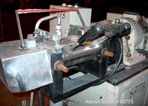 """USED: C W Brabender horizontal two roll prep mill, model PM2000. (2) 4"""" diameter x 8"""" wide chrome plated cored rolls. Operat..."""
