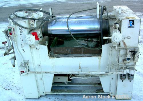 """Used- Ross Horizontal Two Roll Mill, Model 9X24. (2) 9"""" diameter x 24"""" wide chrome plated cored rolls, (1) roll cracked. Adj..."""