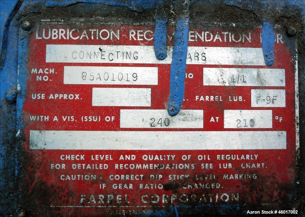 Used- Farrel 2 Roll Calendar, Model 85A-1013.