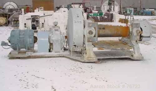 "USED: Farrell horizontal two roll mill. 18"" diameter x 48"" long ironcored rolls. Adjustable end guides, discharge pan. Manua..."