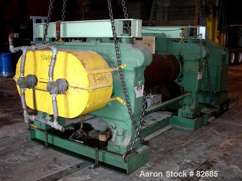 "USED: Farrell horizontal two roll mill, (2) 22"" diameter x 60"" wide iron cored rolls. Operating temp approximately 200 deg F..."