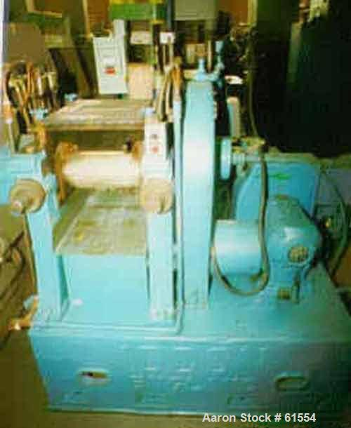 """Used- Iddon Two Roll Mill. 6"""" x 12"""" Horizontal rubber mixing mill. 6"""" Diameter x 12"""" face core rolls, friction ratio approim..."""