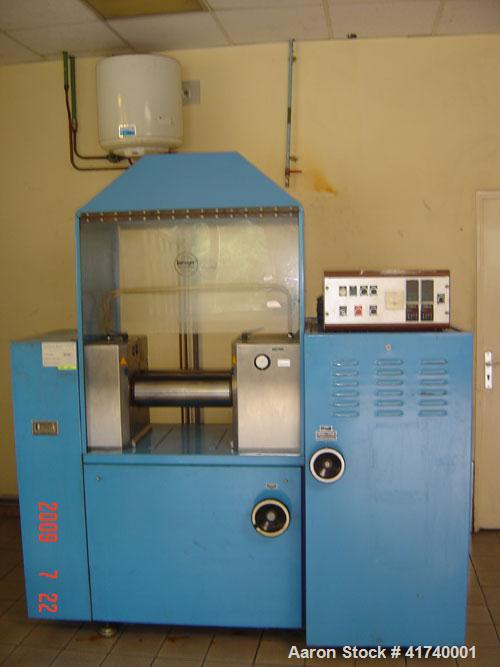 """Used-Lescuyer Lab Size 2 Roll Mill. Material of construction is carbon steel with chromed rolls. (2) 5.85"""" (150 mm) diameter..."""