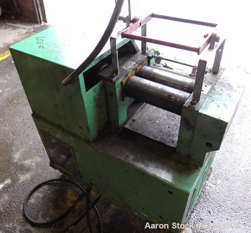 """Used- Nishimura Horizontal Two Roll Mill. (2) 3-1/2"""" diameter x 10"""" wide chrome plated rolls, manually adjustable. (1) Overh..."""