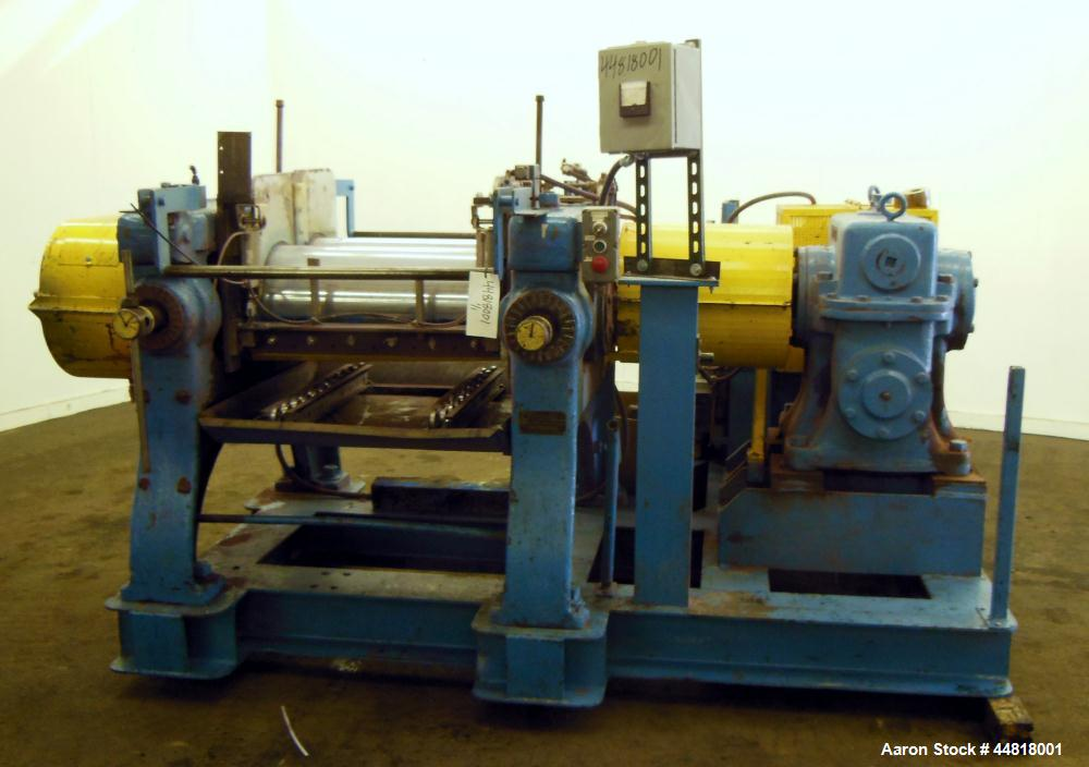 """Used- Reliable Rubber & Plastic Machinery Horizontal Two Roll Mill.  (2) 12"""" Diameter x 30"""" wide chromed plated cored rolls...."""