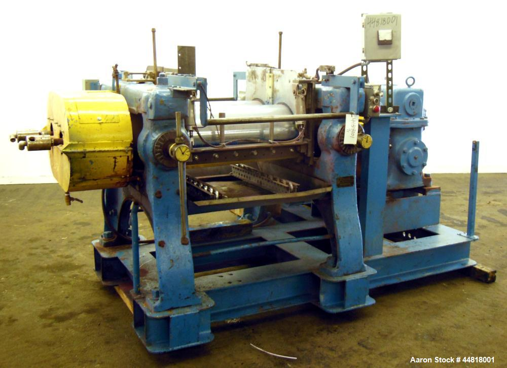 "Used- Reliable Rubber & Plastic Machinery Horizontal Two Roll Mill.  (2) 12"" Diameter x 30"" wide chromed plated cored rolls...."