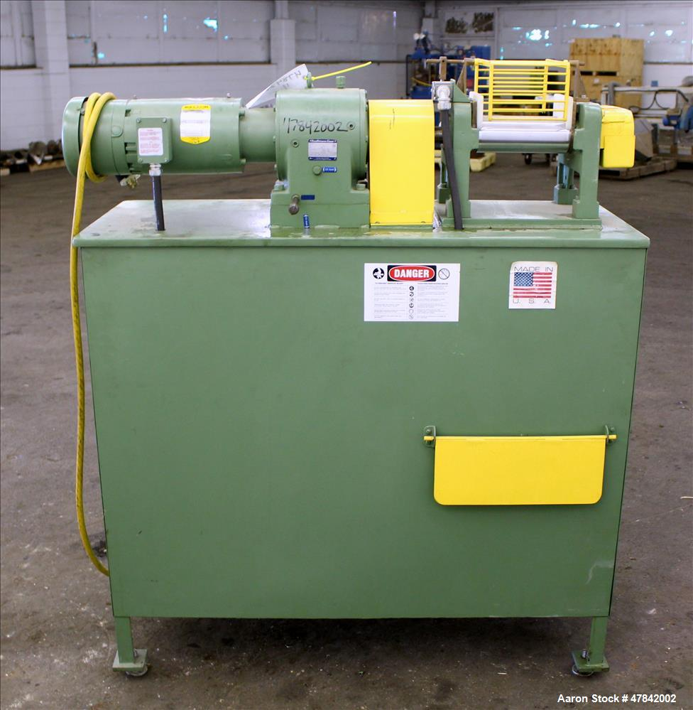 "Used- Reliable Rubber & Plastic Machinery Horizontal Two Roll Mill. (2) 3"" Diameter x 8"" wide chromed plated cored rolls. Ma..."
