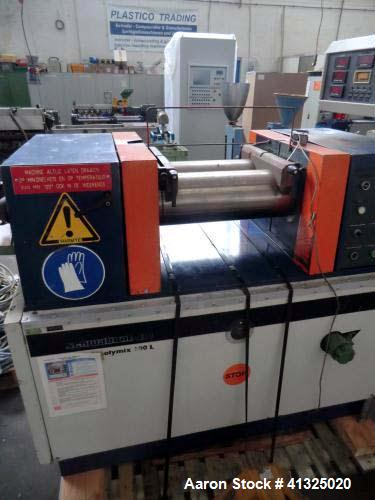 "Used- Schwabenthan 2 Roll Mill, Model Polymix 200 L. Throughput 110 lbs / hour (50 kg/h). Roll width 7.8"" (200 mm). Drive 19..."