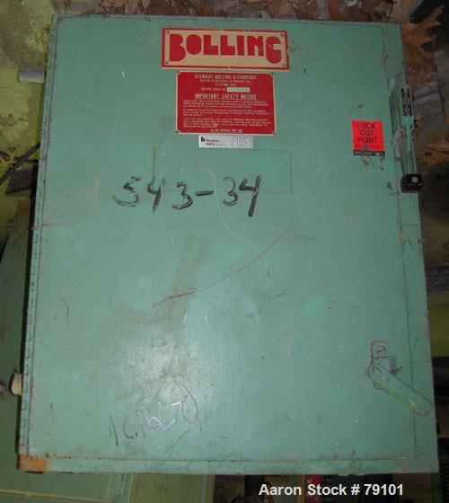 "Used- Stewart Bolling Horizontal Two Roll Mill. (2) 6"" diameter x 13"" wide cored rolls. Adjustable end guides, (2) knee saft..."