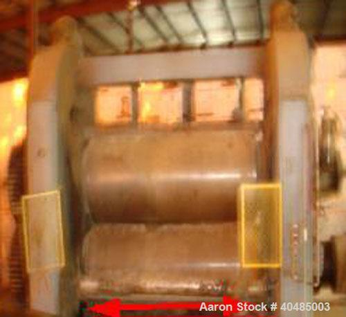 "Used-Stewart Bolling 2 Roll Vertical Calender. 32"" roll diameter, 92' face width of rollers. Driven lower roll, spur gear dr..."