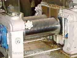 """USED: Stewart Bolling 2 Roll Mill, steam heated chrome rolls, 6"""" diameter x 13"""" long, adjustable end plates, hand micrometer..."""