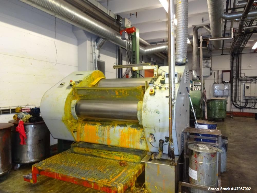 """Buhler 16""""x51"""" (400mm x 1300mm) Large Production Three Roll Mill (TRM), Model SDV1300, Serial# 75806. With TRM has electro-h..."""