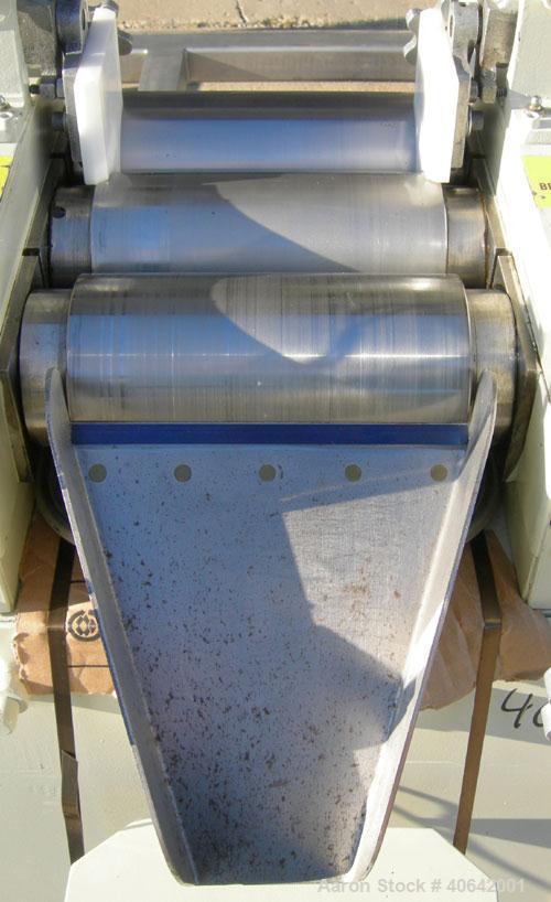 """Used- Ross horizontal three roll mill, model 4 X 8 TRM. (3) 4"""" diameter x 8"""" wide cored carbon steel rolls. Handwheel adjust..."""