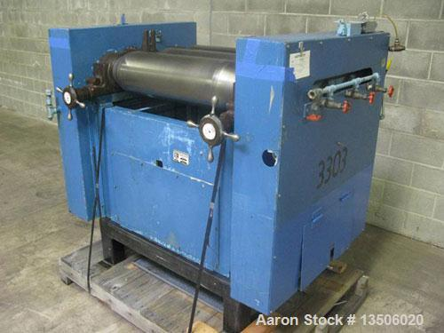 "Used-Ross 9"" x 24"" Three Roll Mill. Cored rolls for cooling. Micrometer adjustment for first and third rolls. Missing end gu..."