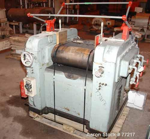 "Used- Inoue Seisakusho Horizontal Three Roll Mill, Model S-9X20. (3) 9"" Diameter x 20"" long manually adjustable cored rolls...."