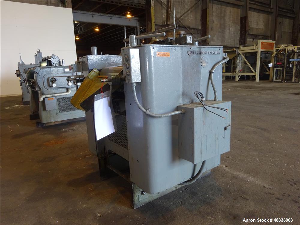Used- Kent Machine Works Horizontal Three Roll Mill, Model 9 x 24, Carbon Steel.