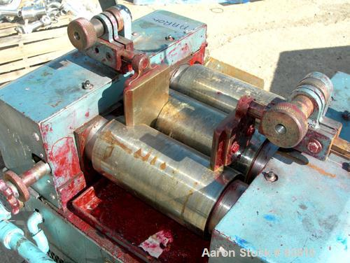 """USED: Keith Machinery horizontal three roll mill, model 4 x 8. (3) 4"""" diameter x 8"""" wide cored rolls. Adjustable end guides,..."""