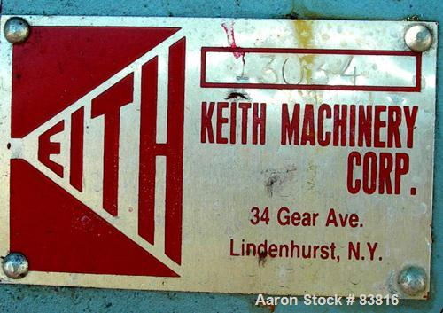 "USED: Keith Machinery horizontal three roll mill, model 4 x 8. (3) 4"" diameter x 8"" wide cored rolls. Adjustable end guides,..."