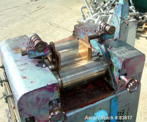 "Used- Keith Machinery Horizontal Three Roll Mill, model 4 x 8. (3) 4"" diameter x 8"" wide cored rolls. Adjustable end guides,..."