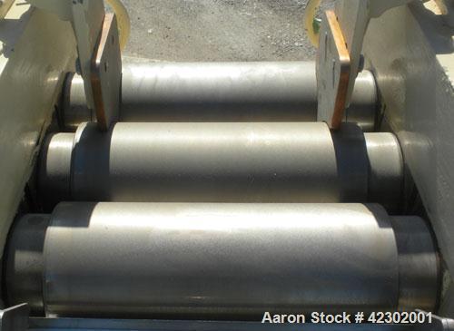 """Used- Kent Machine Works Horizontal Three Roll Mill, model 6 x 14, carbon steel. (3) 6"""" diameter x 14"""" wide cored rolls. Adj..."""