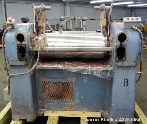 "Used- Lehmann Horizontal Three Roll Mill, Model 13X32. (3) 13"" Diameter x 32"" wide chrome plated adjustable cored rolls. Adj..."