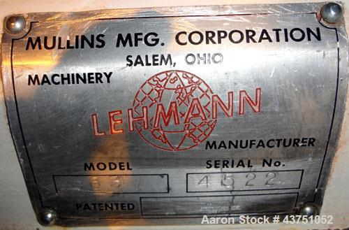 "Used- Lehmann Horizontal Three Roll Mill, Model 663-V. (3) 9"" Diameter x 24"" wide Bi-Metal cast iron adjustable cored rolls...."