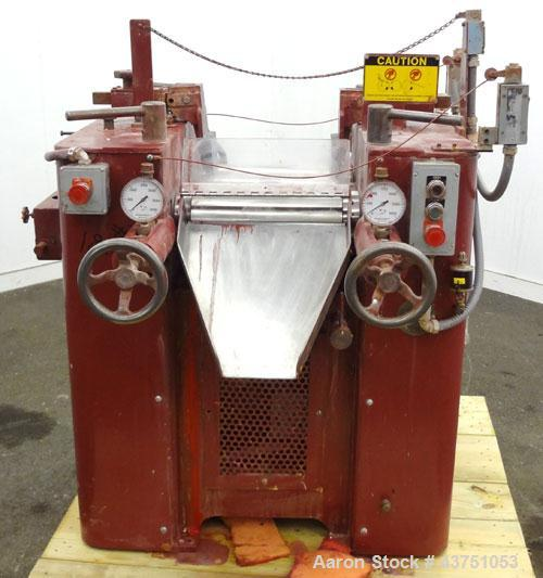 "Used- Kent Machine Works Horizontal Three Roll Mill, Model 6X14. (3) 6"" Diameter x 14"" wide chrome plated adjustable cored r..."