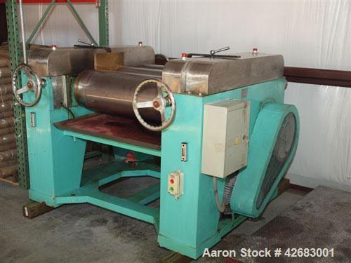 Used- Torrey Hills three roll mill, 12 x 30, 15 hp, 460 v , Timken bearings, stainless steel top and apron, manufactured 2006