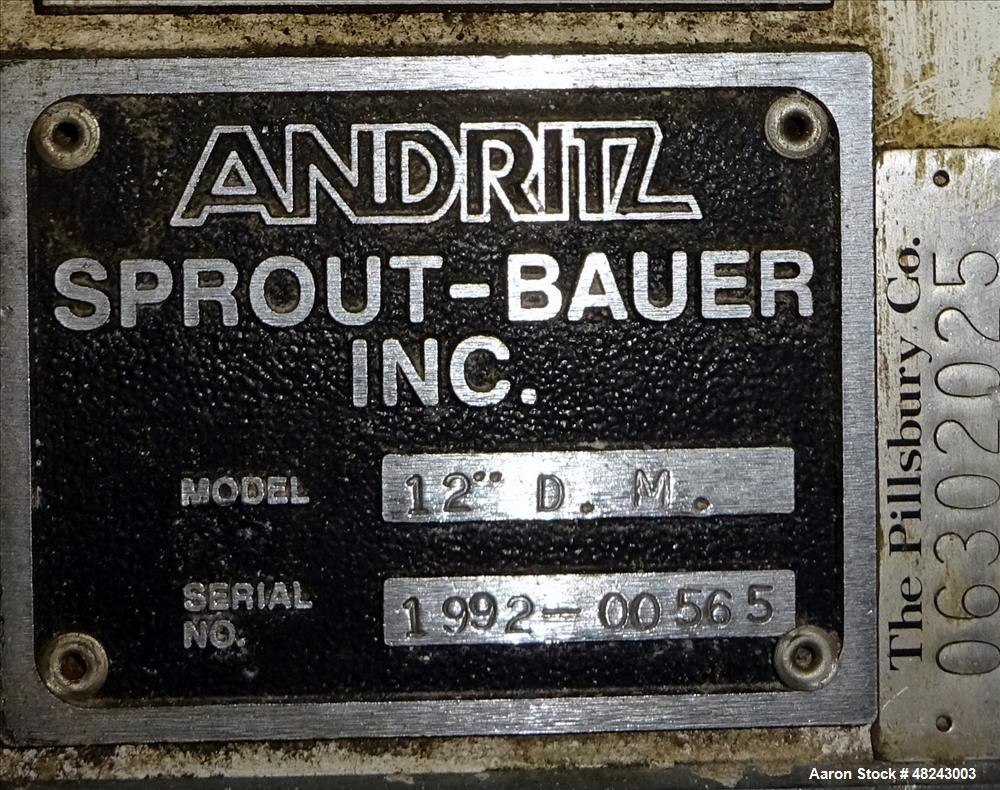 "Used- Andritz Sprout-Bauer 12"" Lab Disc Mill, Model 12""D.M., 316L Stainless Stee"