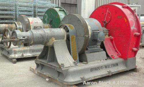 Used- Sprout-Waldron Single Runner Attrition Mill, Type 36. Carbon Steel Housing with 446 stainless steel removable grinding...